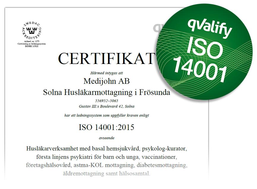 ISO14001 utdrag ur certifikat